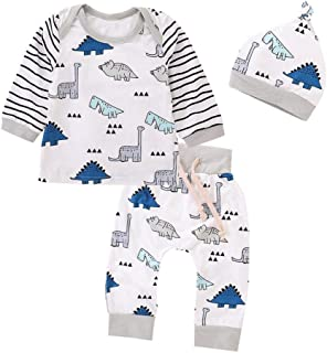 Conjuntos para Unisex Bebé Niñas Niños Otoño Invierno 2018 Camisetas Manga Largas + Pantalones + Gorro Ropa Recien Nacidos Pijamas Enteros para bebés Estampado Dinosaurs de 6 Meses - 24 Meses