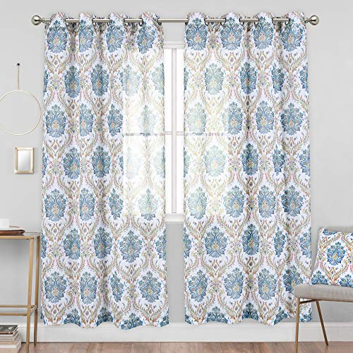 KEQIAOSUOCAI Abstract Floral Faux Linen Semi-Sheer Curtains for Bedroom - Yellow and Green Damask Medallion Printing Curtain Panels for Living Room(52 Wx84 L,2 Panels)