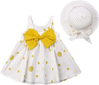 2PCS Summer Clothes Outfit Sets Toddler Baby Girl Polka Dot Sleeveless Solid Bowknot Tutu Dress + Straw Hat Clothing