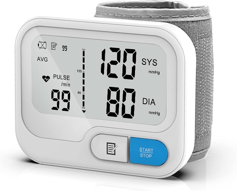 Monitores de salud del hogar, Pulsera de presión arterial, monitor de presión arterial automática de muñeca digital, medidor de pulso de frecuencia cardíaca BP Monitor, función de memoria 90 lecturas.