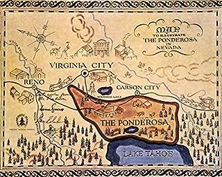 Bonanza 16x20 Canvas The Ponderosa Lake Tahoe Reno Map Nevada State Classic Tv