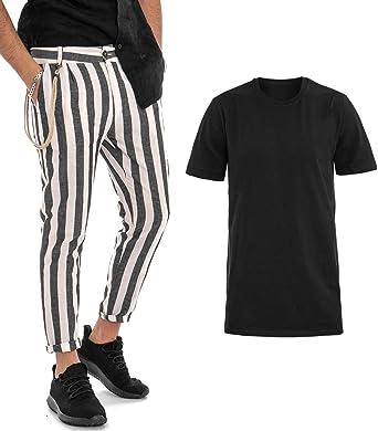 Giosal Outfit – Camiseta Negra de un Solo Color, Pantalones a ...