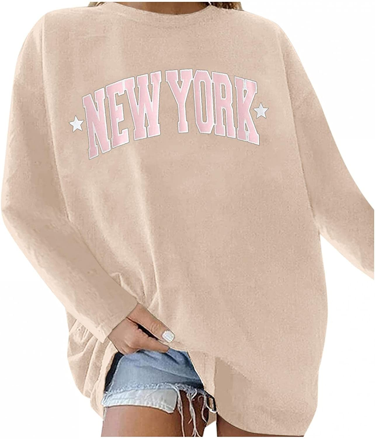 Qisemi New Max 42% OFF products world's highest quality popular Oversized Sweatshirt for Women York Printed Tops Crew