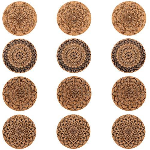 Keesin, sottobicchieri rotondi in sughero, con motivo floreale, 12 pezzi, riutilizzabili per casa, ristorante, ufficio e bar, 10 cm