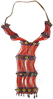 20 Strands Maasai Beaded Necklace Red Kenya Old Africa