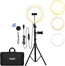 "LED Ring Light, Havit 12' Selfie Ring Light with Tripod Stand (19""-65"") & Phone Holder, Bluetooth Remote Control and Carry Bag for Video Recording/Live Stream/Makeup/YouTube/Photography/Camera"