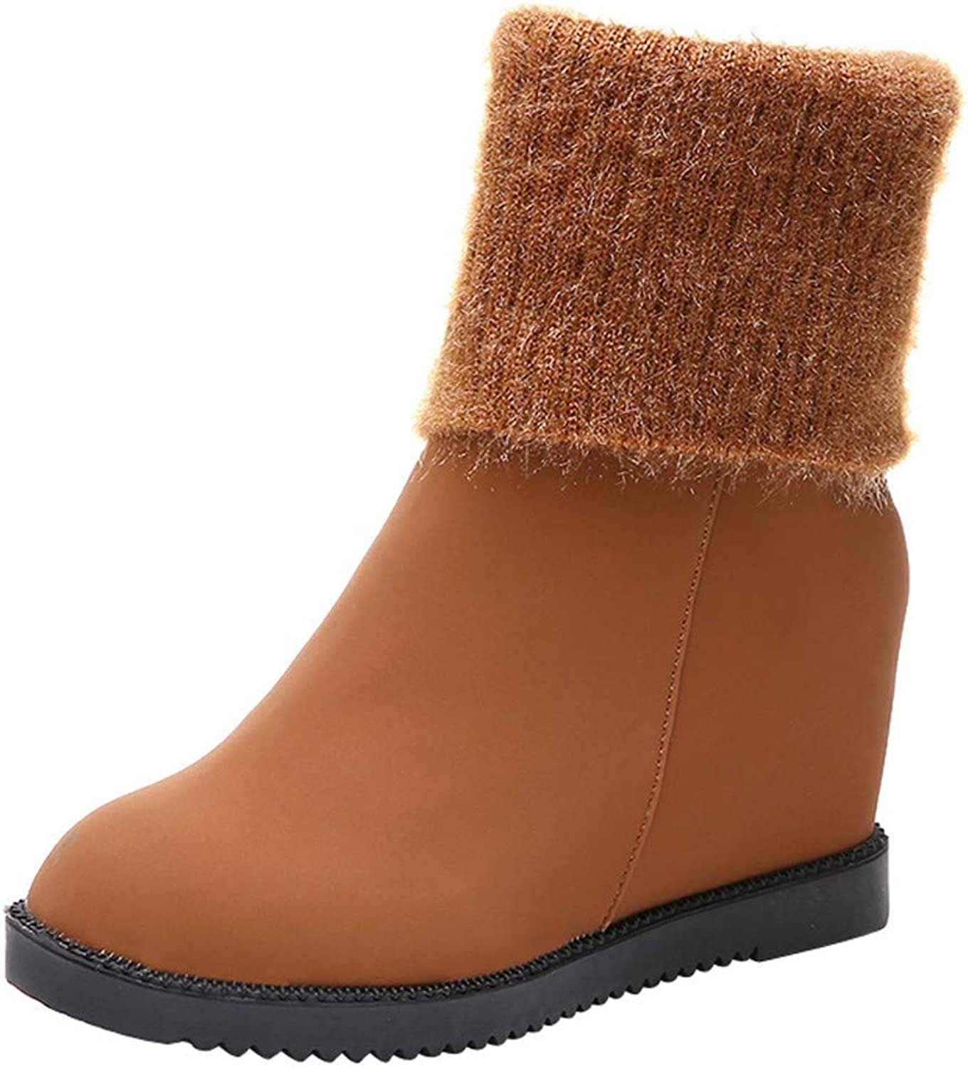 JaHGDU Women's Wedges shoes Snow Boots Suede Keep Warm Leather Slip On Boots Round Toe shoes Leisure Cosy Wild Tight Super Elegant Casual Quality for Womens