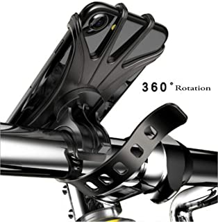 Bike Phone Mount, MARRRCH Universal Bike Holder Handlebars, 360 °Rotatable Adjustable Silicone Bicycle Phone Holder for Cycling GPS/Map//Music, Compatible with iPhone Xs MAX/X 4.5-6.5 inch Phones (Black)