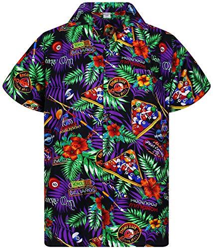 V.H.O. Funky Hawaiian Shirt, Pool Billiards, Black, 3XL