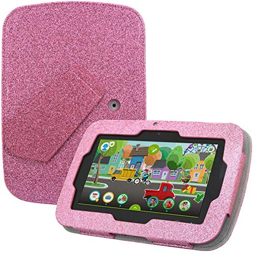 LeapPad Academy Case & Leapfrog Epic Academy Case - HOTCOOL New PU Leather with Kickstand Cover Case for LeapPad Academy & Leapfrog Epic Academy 7' Tablet, Glitter Pink