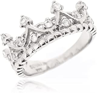 SOVATS Crown Tiara Princess Ring Set With White Cubic Zirconia For Women 925 Sterling Silver Rhodium Plated - Simple, Stylish &Trendy Nickel Free Ring