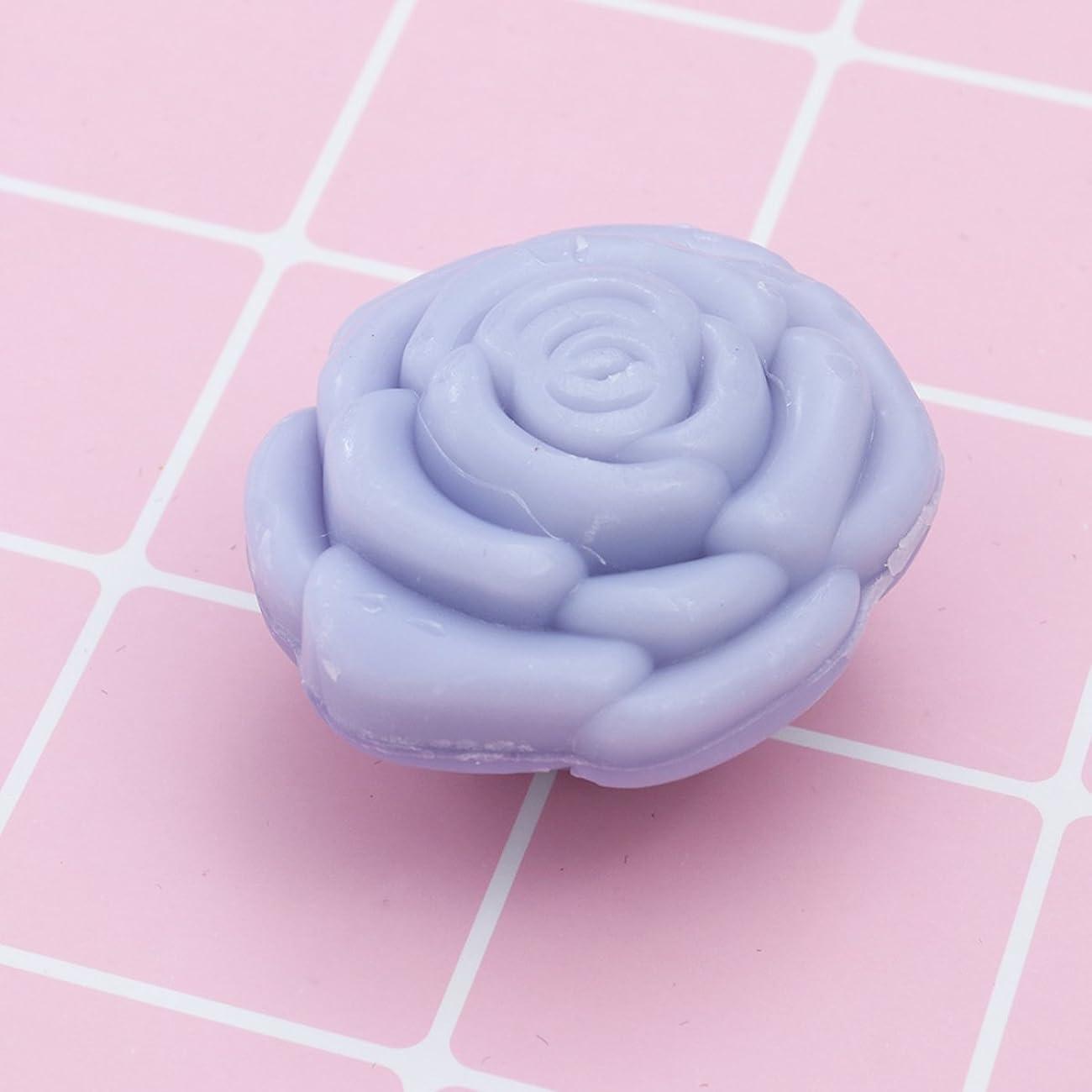 生まれ曲がった印刷するAmosfun 手作り石鹸オイルローズフラワーソープアロマエッセンシャルオイルギフト記念日誕生日結婚式バレンタインデー(紫)20ピース