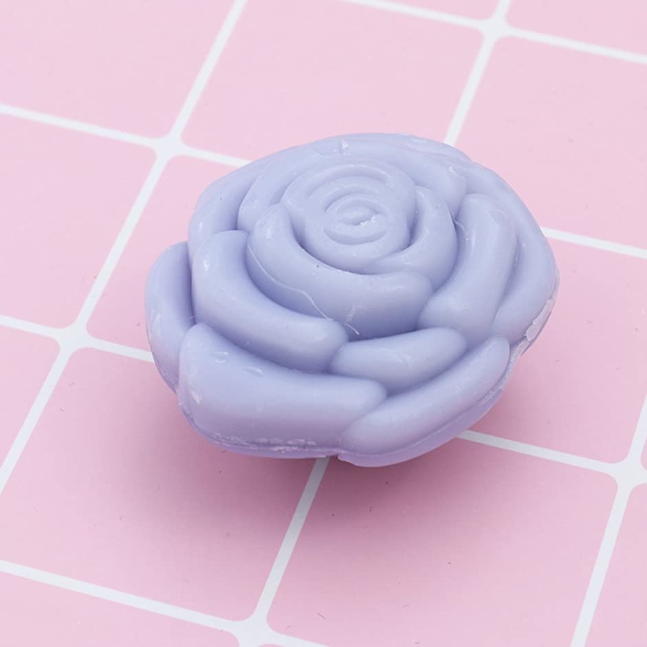 海外阻害するAmosfun 手作り石鹸オイルローズフラワーソープアロマエッセンシャルオイルギフト記念日誕生日結婚式バレンタインデー(紫)20ピース
