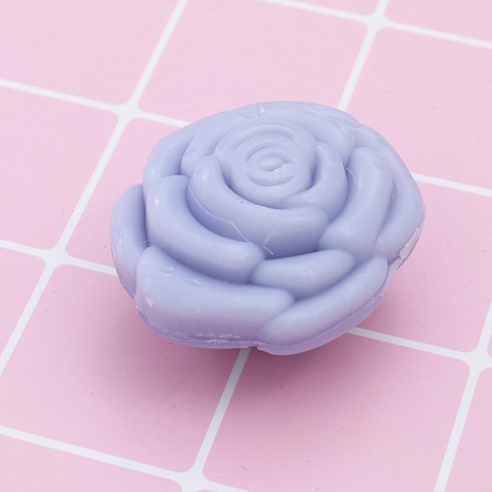 マッサージ無一文苦しむAmosfun 手作り石鹸オイルローズフラワーソープアロマエッセンシャルオイルギフト記念日誕生日結婚式バレンタインデー(紫)20ピース