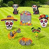 Day of the Dead Yard Signs Día de los Muertos Outdoor Lawn Decorations Sugar Skulls Welcome Signage Marigolds Cutouts Mexican Fiesta Halloween Party Supplies Garden Street Ornaments Set of 8