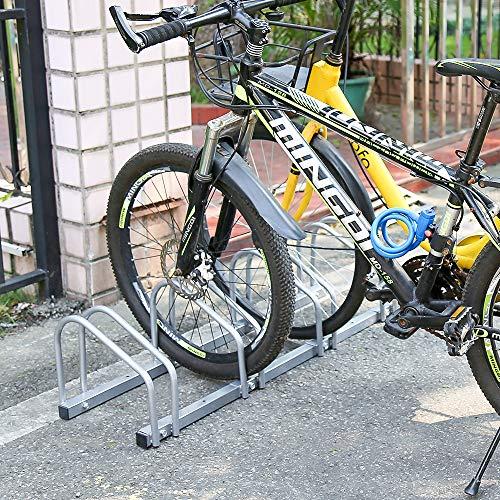 HENGDA Fahrradständer 5 Fahrräder, Verzinktem Stahl, Boden- und Wandmontage, Fahrrad Ständer Mehrfachständer, LBH: ca. 130 x 32 x 26 cm, Silber