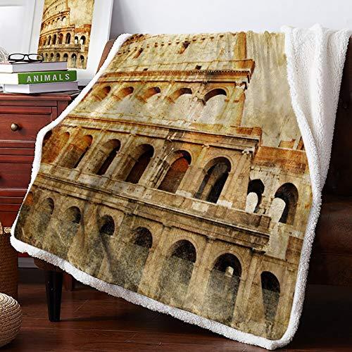 Mantas de Colcha de edredón de ruinas de Estilo Romano Retro Italiano, Mantas de Lana, Abrigo Personalizado Grueso 150 x 200CM