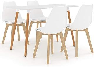 WooDlan Juego de 4 sillas de Comedor con Respaldo y Patas de Metal Resistente de Estilo de Madera para salón, Sala de Estar, Cocina, Oficina y Restaurante, Blanco, 42 x 42 x 81 cm
