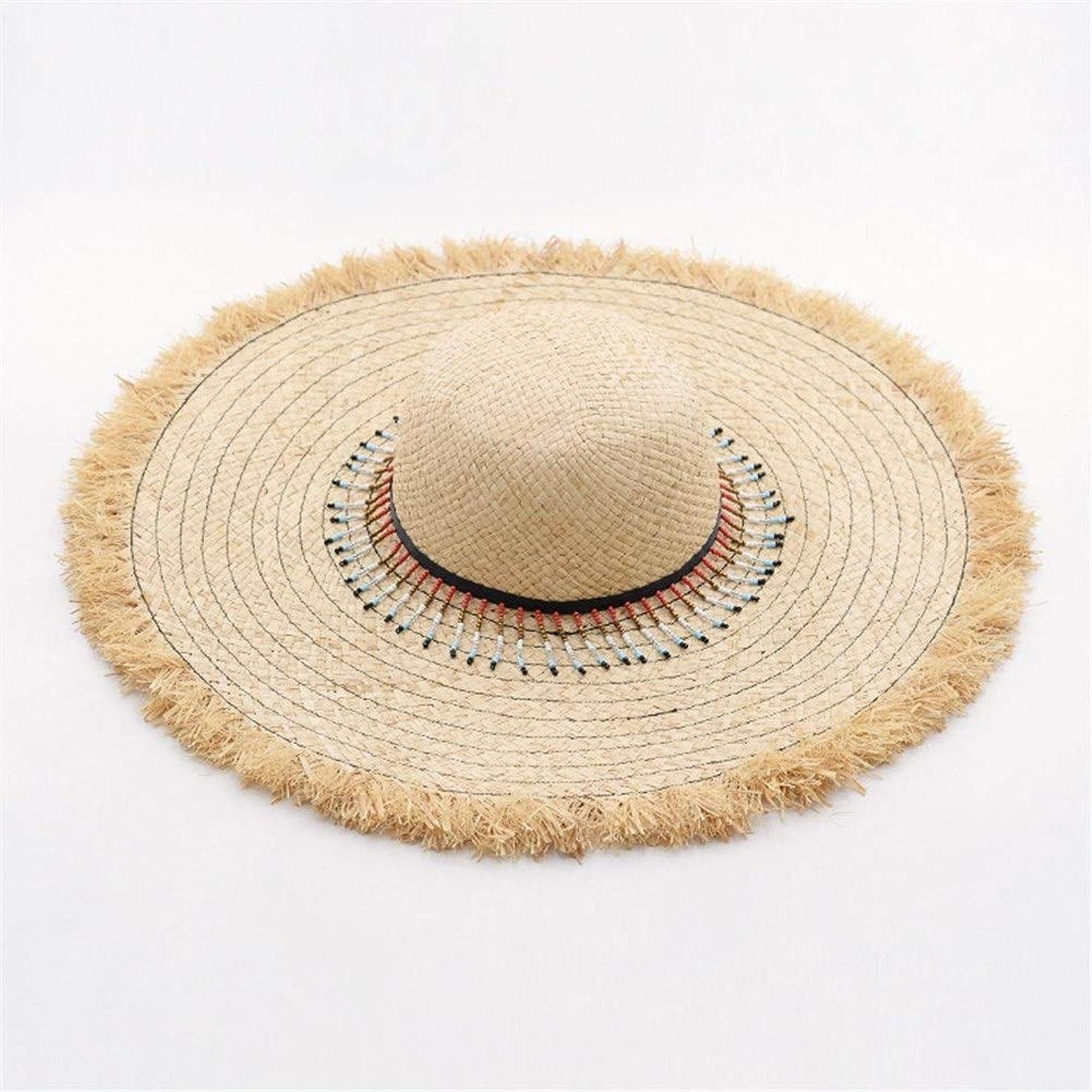 比べるブローフリンジラフィットグラスエッジ麦わら帽子スパンコールチェーン装飾ラフィット麦わら帽子観光ビーチ麦わら帽子