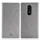 Eastcoo Oneplus 6 Hülle PU Leder Flip Hülle Tasche Cover Schutzhülle mit [Standfunktion][Magnetic Closure][Wallet]für Oneplus 6 Smartphone (Gray)