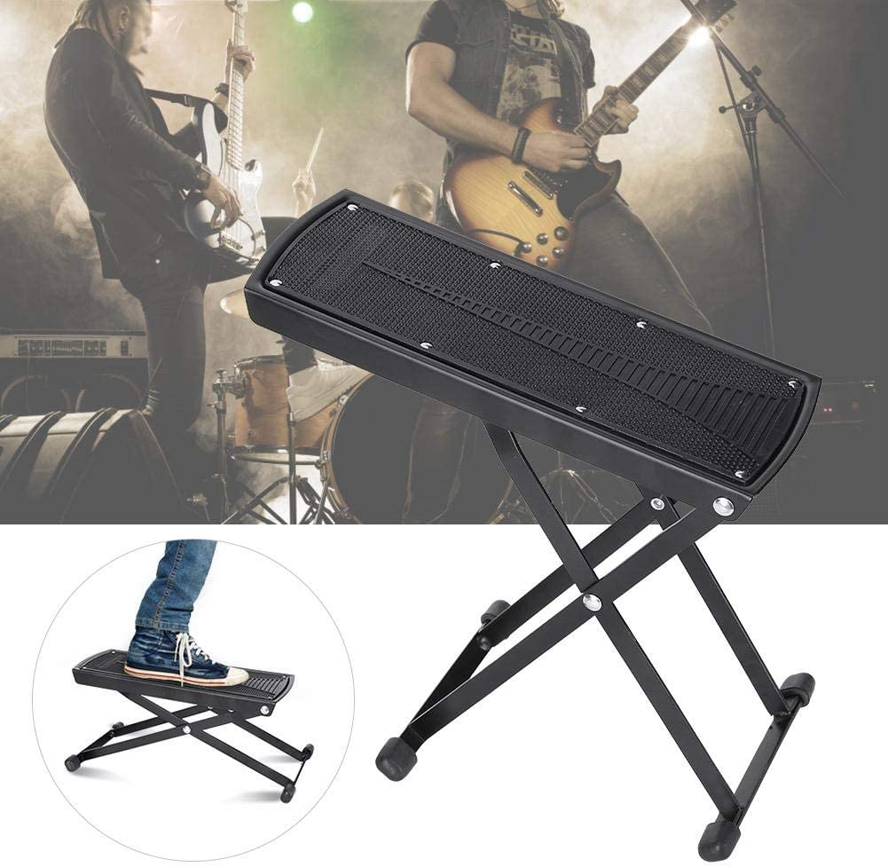 Guitar Foot Rest,Height Adjustable Guitar Foot Rest Pedal Anti-Skid Metal Guitar Footstool Pedal for Guitar Players Black
