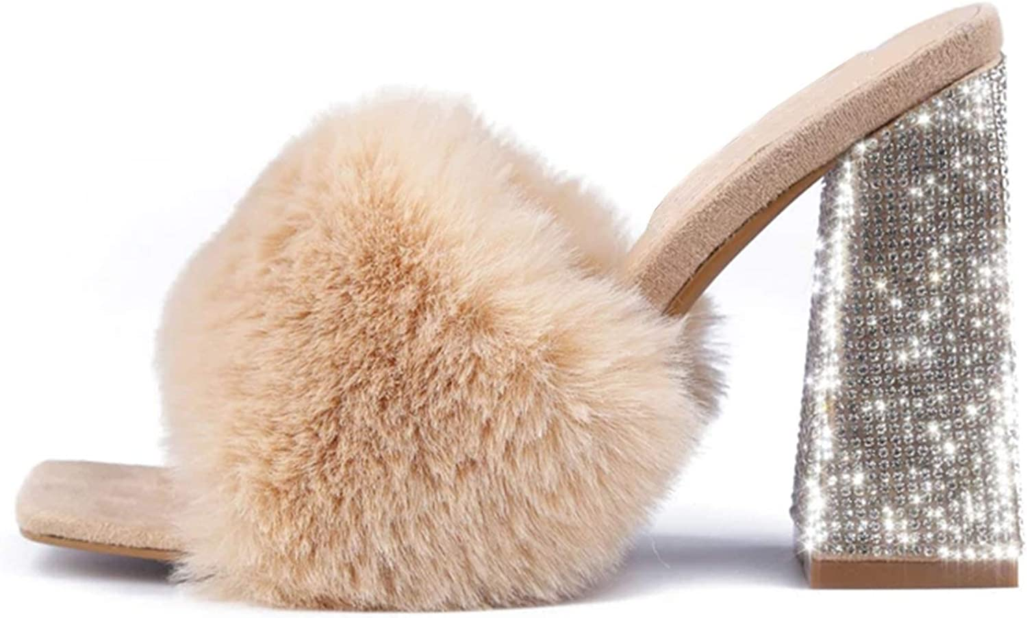 SaraIris Women's Summer Shoes Chunky Heel Sandals; Open Toe Single Band with Colorful Fur Platform Sandals