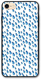 Haixia iPhone 7/8 Phone Case 4.7 Inch Home Decor Raindrops Fall Autumn Ritual Climate Liquid Gravity Water Cycle Air Mass Image Full Blue White