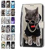 Handyhülle kompatibel für Xiaomi Redmi 9A Hülle Leder Tasche Flip Hülle Tier Lustig Muster Motiv Mädchen Damen Design mit kartenfach Etui Cover - Katze 7