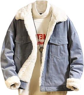 QianQian-AU Mens Plus Size Winter Thicken Corduroy Fleece Parka Coat Jacket