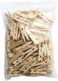 Timetided Petit Clip en bois 100 pièces Clips en bois Petits Clips DIY Clips Photo Snack Clips Pinces à linge en bois dur ...