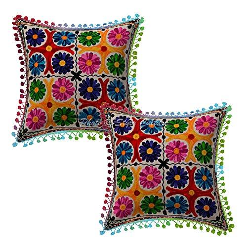 Stylo Culture Cojines Bordados Indios de la Almohadilla del Tiro del algodón Cojines Florales del Amortiguador del Multicolor 16x16