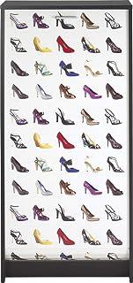 SIMMOB Meuble Noir Rideau Imprimé-Coloris-Chaussures Couleur 200, Bois