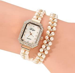 Hunputa Women Gold Pearl Jewelry Steel Bracelet Wristwatch Women Female Ladies Crystal Casual Fashion Watch (A)