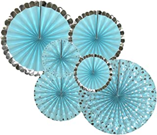 6Pcs Baby Blue Round Hanging Party Paper Fans Set Baby Shower Birthday Wedding Themed Event Decorations