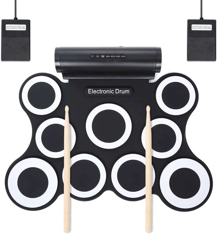 Elektrisches Schlagzeug 9 Silicon-Pads Aufrollen E-Drum-Set Unterstützung DTX-Spiel USB-MIDI-Drum-Drum-Kit mit integriertem Doppel-Stereo-Lautsprecher Kopfhrerbuchse Sustain-Pedale Drum-Sticks-Aufnah
