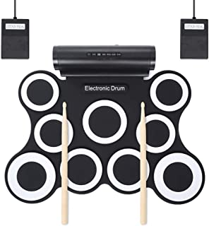 ポータブルプロフェッショ折りたたみ電子ドラム 9シリコンパッドロールアップ電子ドラムセットサポートDTXゲームUSB MIDI練習ドラムキット内蔵ダブルステレオスピーカーヘッドフォンジャックサスティンペダルドラムスティック録音再生機能ギフト子供のための ドラムサウンドはあなたに自然で強力なサウンドを与えます。 標準的なドラム設定とワイドペダル