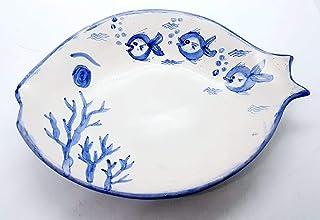 Piatto Pesce Linea Mare Ceramica Realizzato e Dipinto a mano Le Ceramiche del Castello Nina Palomba Made in Italy Dimensio...