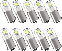 Serundo Auto BA9S Led Bulb BA9 1895 1891 53 57 Led Bulb, 2SMD 3030Chips 6000K White 47830 64111 3893 LED Bulb for Car Interior Dome Map License Plate Glove Box Light etc, Pack of 10pcs