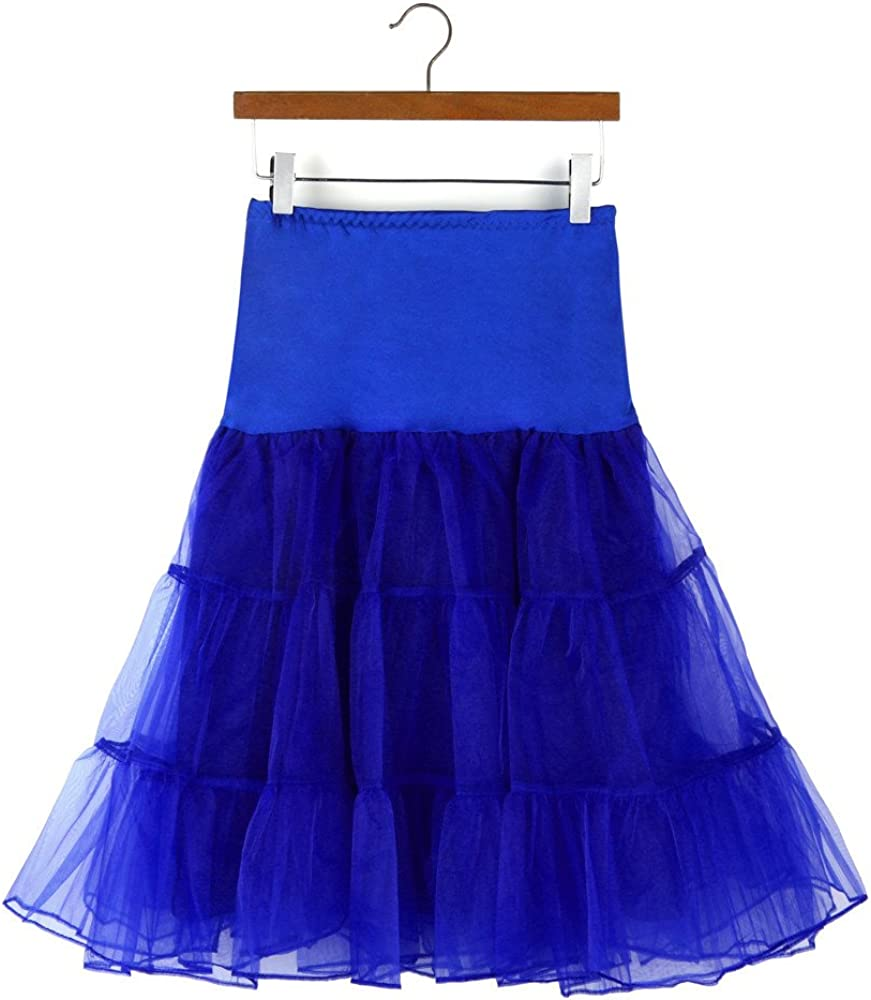 TUSANG Womens Casual High Waist Pleated Short Skirt Adult Tutu Dancing Skirt Blue