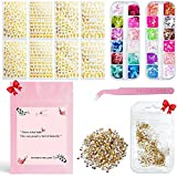 Butterfly Nail Art Adhesive Sticker 8 Sheets| 24 Butterfly Sequins| Different Laser Gold and Silver Color Butterfly Shapes Nail Art Decoration (Butterfly Nail Art Kit)