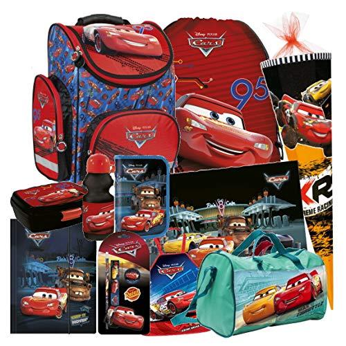 Disney Cars Auto 14 Teile Set Schulranzen RANZEN SCHULTÜTE 85 FEDERMAPPE Tasche Tornister mit Sticker von Kids4shop