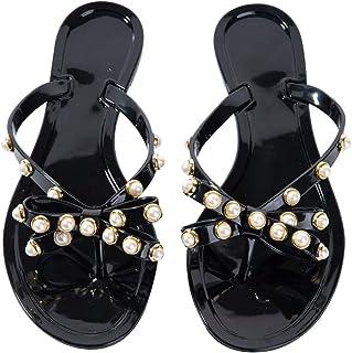 Women Pearls Flip Flops Clear Bow Sandals Beach Flat Crystal Jelly Thong Flats