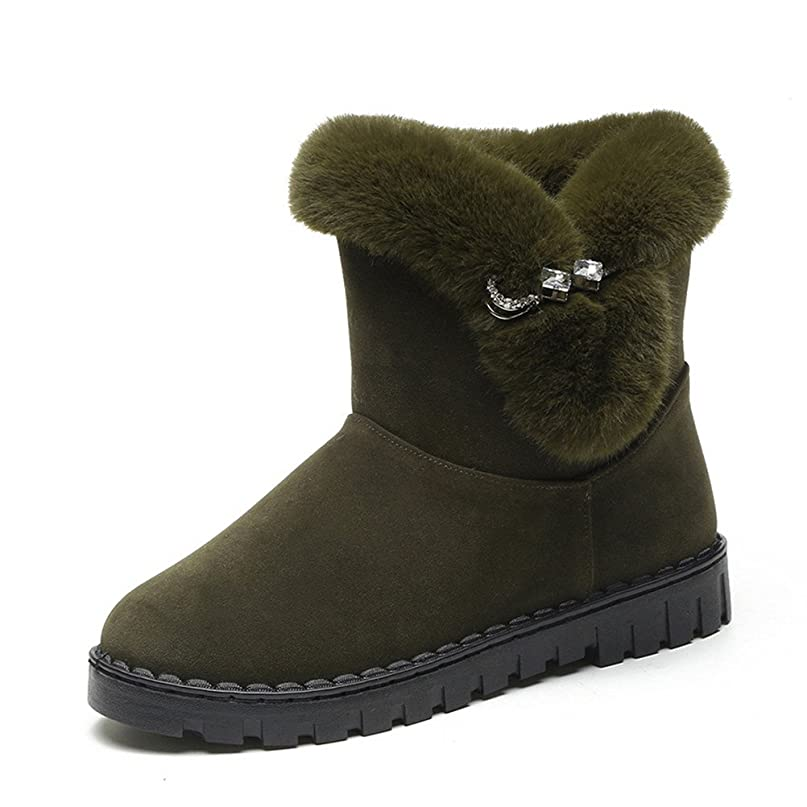 熟読ウェブ協力的ZUOMAレディース スノーブーツ 冬靴 綿入れシューズ フラットシューズ 中筒 カジュアル 裏起毛 ふわふわ もこもこ