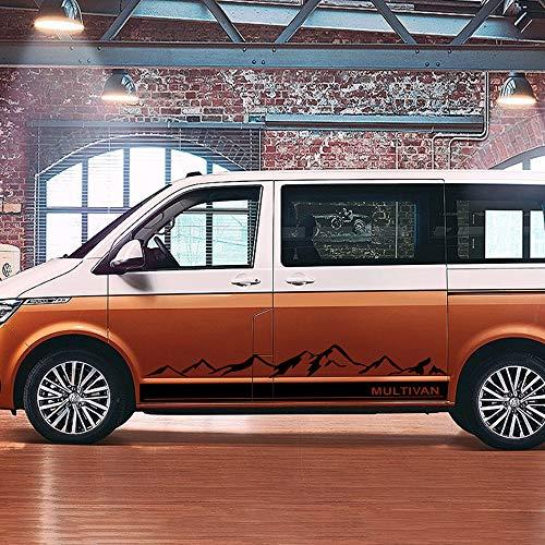 FSXTLLL 2 STÜCKE Berg Auto Grafik Aufkleber Tür Seitenschweller Aufkleber, Für Volkswagen VW Multivan T5 T6