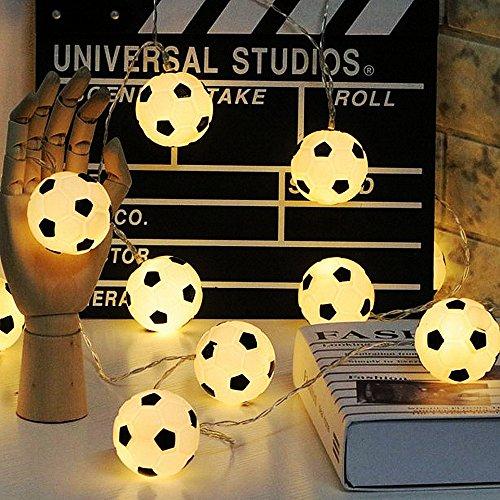 String Light 20LEDs Football Decoration - ELINKUME Modern World Football Modeling Indoor Decor Lighting Warm Light 2M/6.56ft Length Suitable for Theme Party/Home Decor/Festival