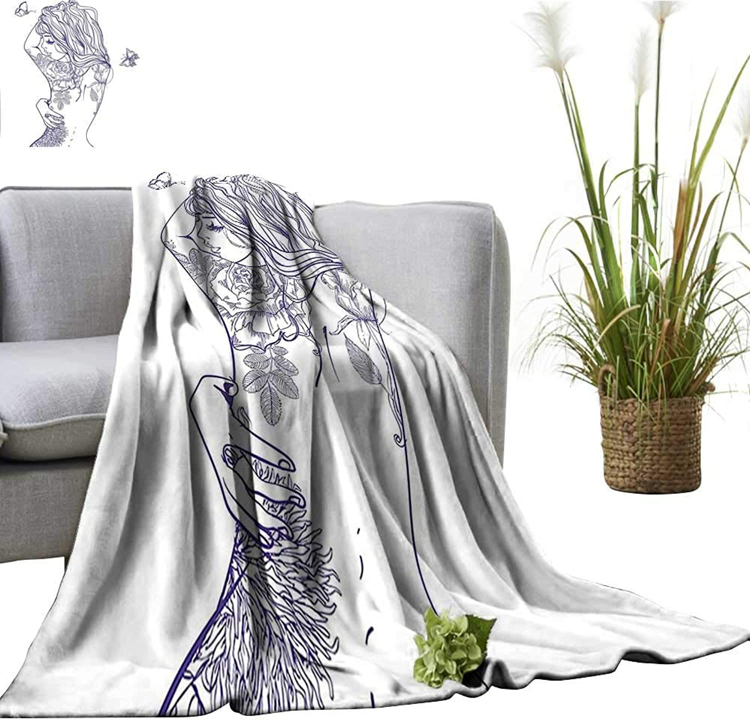 Digital Printing Blanket Young Girl with Tattoos and Butterflies Free Your Soul Inspired Long Hair Feminine Better Deeper Sleep 50 x70