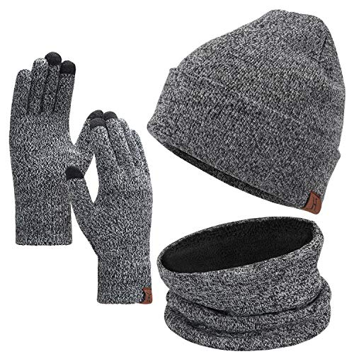 Winter Beanie Hat Scarf Touchscreen Gloves Set for Men and Women, Beanie Gloves Neck Warmer Set with Warm Knit Fleece Lined Grey