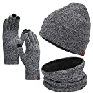 Winter Beanie Hat Scarf Touchscreen Gloves Set for Men and Women, Beanie Gloves Neck Warmer Set with Warm Knit Fleece Lined