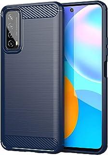 Telefonskydd för Huawei Y7A mjukt TPU mobiltelefonskydd telefon skyddsfodral med luftkudde snygg kolfiber borstad textur t...