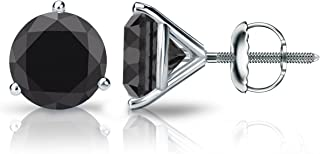 14k Gold Round Black Diamond Stud Earrings (1/2-4cttw) 3-Prong Martini Set with Screw-backs Diamond Wish